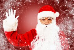 Santa Claus showing with gestures Stock Image