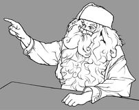 Santa Claus Showing His Finger. Black and White Christmas Illustration, Vector Royalty Free Stock Photo
