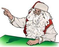 Santa Claus Showing His Finger. Christmas Illustration, Vector Royalty Free Stock Photo