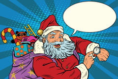Santa Claus shows on the clock, New year and Christmas vector illustration