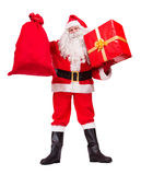 Santa Claus shows gifts Royalty Free Stock Images
