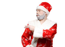 Santa Claus shows his hand to the left, a white background Stock Images