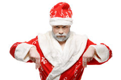 Santa Claus shows his hands down, white background Stock Photography