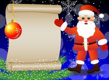 Santa claus shows on the sheet of paper, christmas background Stock Photo