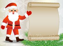 Santa claus shows on the sheet of paper, christmas background Royalty Free Stock Photos