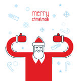 Santa Claus shows thumb up. Merry Christmas design flat line sty Stock Image