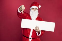 Santa Claus shows thumbs down Stock Image