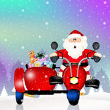 Santa Claus on sidecar. Funny Santa Claus on sidecar Royalty Free Stock Photography