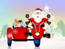 Santa Claus on sidecar. Funny Santa Claus on sidecar Stock Photography