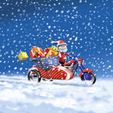 Santa Claus sidecar and gift. 3d illustration, Santa Claus red sidecar and gift Stock Photos