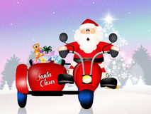Santa Claus on sidecar. Illustration of Santa Claus on sidecar Royalty Free Stock Photos