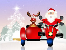 Santa Claus on sidecar. Illustration of Santa Claus on sidecar Royalty Free Stock Images