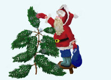 Santa Claus sifting Evergreen with snow Stock Photography