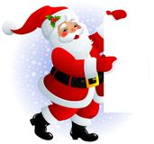 Santa Claus sign. Illustration of smiling Santa Claus holding signs Royalty Free Stock Images