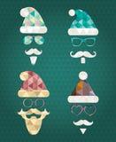 Santa Claus Silhouette Icons con el triángulo Fotografía de archivo libre de regalías