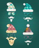 Santa Claus Silhouette Icons with Triangle Royalty Free Stock Photography