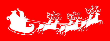 Santa Claus silhouette riding a sleigh with deers. Vector illustration isolated on white background Royalty Free Illustration