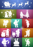 12 Santa Claus Silhouette Set. Set of 12 white vector silhouettes of Santa Claus in different settings with colorful backgrounds Stock Photos