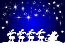 Santa claus silhouette with stars. At night Stock Photos
