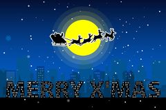 Santa Claus silhouette vector moonlight Royalty Free Stock Image