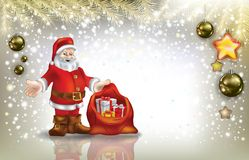 Santa claus on silver background Royalty Free Stock Image