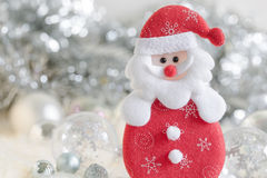 Santa claus and Silver bell,white silver bow and silver ball decoration on christmas. And new year background Royalty Free Stock Image