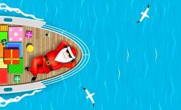 Santa Claus simning på en yacht royaltyfri illustrationer