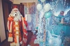 Santa Claus singing Christmas songs . Father Frost singing Christmas songs . Father Christmas , Jack Frost . Santa Claus speaks to stock photo