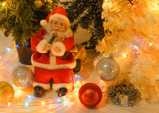 Santa Claus is singing with a microphone Royalty Free Stock Photo