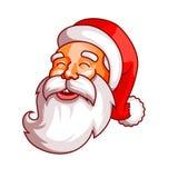Santa Claus sinnesrörelser Del av juluppsättningen Skratt gyckel, glädje Ordna till för tryck Arkivfoto