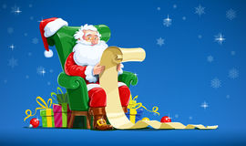 Santa claus sit in armchair and read. Letter. Christmas character with gift. Winter holiday.  white background. Vector illustration Royalty Free Stock Photos