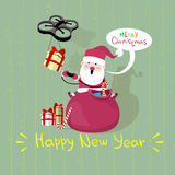 Santa Claus Sit On Red Sack Drone Delivery Present, New Year Christmas Holiday Royalty Free Stock Images
