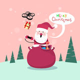 Santa Claus Sit On Red Sack Drone-Leveringsheden, de Vakantie van Nieuwjaarkerstmis Royalty-vrije Stock Afbeelding