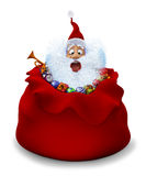 Santa Claus sits in a bag with gifts Royalty Free Stock Photo