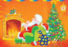 Santa Claus sits by the fire. High-resolution illustration: Santa Claus sitting in easy chair by the fire in his room with Christmas tree Stock Photography