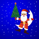 Santa claus sits on a moon with a fir-tree in hand Royalty Free Stock Image
