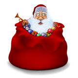 Santa Claus sits in a sack with gifts Royalty Free Stock Photo