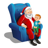 Santa Claus sitting in armchair with little boy. Vector Stock Photography