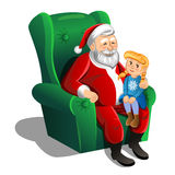 Santa Claus sitting in armchair with little girl. Vector Stock Image