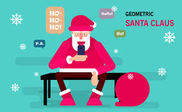 Santa Claus sitting on a bench and holds a smartphone for sending messages to his friends. Merry Christmas vector postcard. Royalty Free Stock Images
