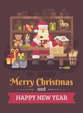Santa Claus sitting at the desk in his workshop making toys for kids. Christmas flat illustration card vector illustration
