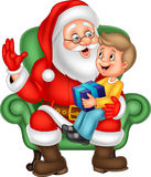 Santa Claus sitting with a little cute boy stock illustration