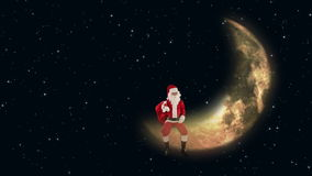 Santa Claus sitting on Moon and waiting for Reindeers, twinkling stars, stock footage. Video stock video footage