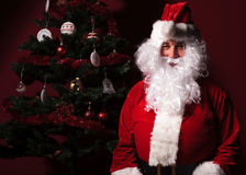 Santa claus is sitting near a christmas tree Stock Images
