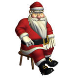 Santa Claus in sitting pose, relaxed. 3d rendering of Santa Claus in sitting float, rest themselves as illustration Royalty Free Stock Images