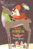 Santa Claus sitting on reindeer Stock Image