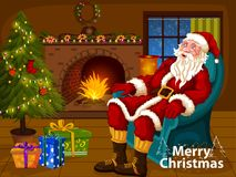 Santa Claus sitting in sofa near Decorated Pine tree near fireplace for Merry Christmas and Happy New Year. In vector Royalty Free Stock Photo