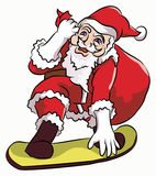 Santa claus skate boarding. Santa claus on snow boarding with red sack containing gifts Royalty Free Stock Images