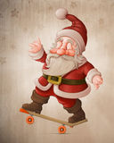 Santa Claus on skateboard Stock Photos