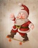 Santa Claus on skateboard Stock Photos